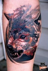 写实凶恶的狼头纹身图案