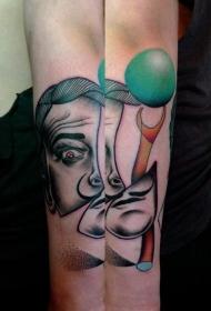 手臂彩色意大利肖像纹身图案