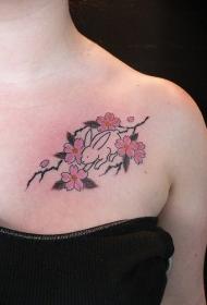 肩部可爱兔子和樱花树纹身图案