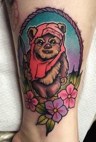 腿部彩色老学校的风格有趣的彩色小熊纹身