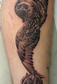 腿部棕色逼真的兔和猫头鹰纹身图片