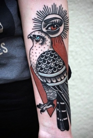 old school彩色鹰和眼睛纹身图案