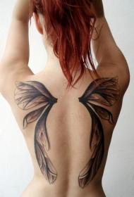 女生背部一对可爱的翅膀纹身图案