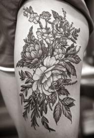 腿部灰色墨水花朵纹身图案
