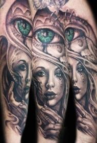 手臂彩绘女性肖像与绿色眼睛纹身图案