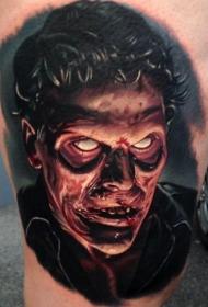 彩色恐怖僵尸脸纹身图案