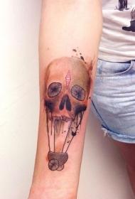 手臂水墨色骷髅头热气球纹身图案