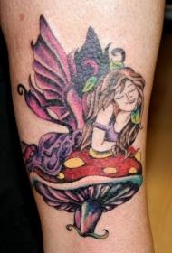蘑菇上的七彩精灵纹身图案