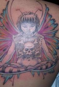冥想中的哥特精灵和骷髅纹身图案