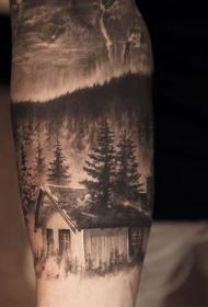 手臂现实主义风格的森林房子与夜空纹身