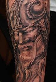 手臂棕色维京战士肖像纹身图案
