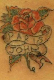 背部彩色花朵与英文纹身图案