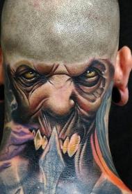 头部不寻常的彩色怪物头像纹身图案