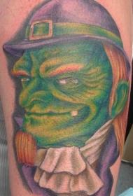 腿部彩色格林老妖精纹身图案
