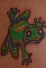 肩部彩色微笑的绿蛙纹身图案