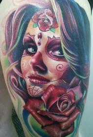 肩部彩色Santa死亡女孩与玫瑰纹身