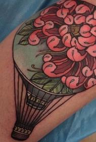 腿部新风格彩色飞行气球与花纹身