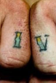 手指彩色英文字母纹身图片