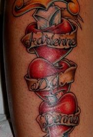 三颗心被匕首刺破纹身图案