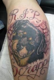 腿部好斗的狗纪念彩色纹身图案