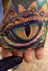 手背写实的龙眼纹身图案