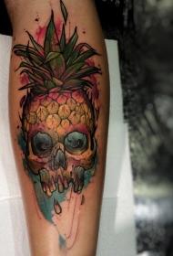 手臂插图式彩色菠萝与头骨纹身图案