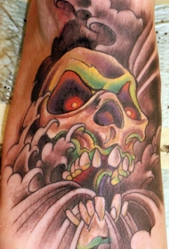 脚部复古风格的彩色漫画恶魔骷髅纹身