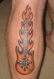 小腿处吉他与火焰的个性组合纹身图案