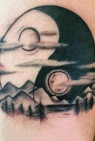 男性手臂黑白阴阳符号纹身图案