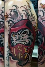 日式彩色邪恶达摩纹身图案