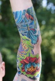 男性手臂彩色花朵主题纹身图案