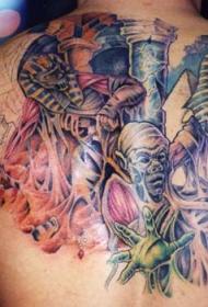 男性背部木乃伊彩色纹身图案