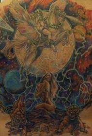 背部彩色女孩在飞马女战士纹身