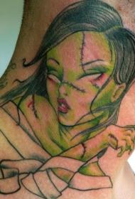 颈部彩色僵尸女孩纹身图案