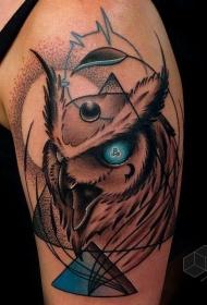 手臂插画风格色恶魔猫头鹰发光的眼睛纹身图案