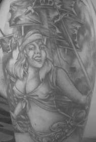 肩部灰色海盗船和女孩纹身图案