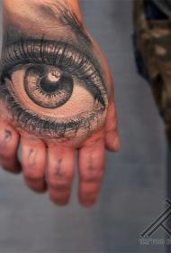 手背写实的彩色眼睛纹身图案