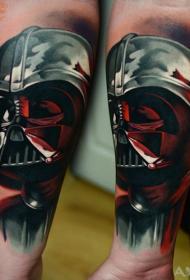 手臂插画风格彩色逼真的达斯·维德头像纹身