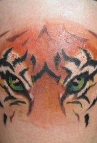 腿部彩色逼真的绿虎眼睛纹身图案