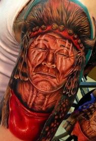 肩部彩色印度人物肖像纹身图案