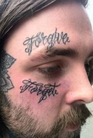 男人脸部花体字纹身图案
