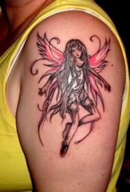 大臂红色翅膀的精灵纹身图案