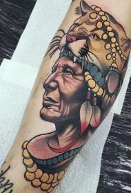 手臂彩色印第安人肖像纹身图案
