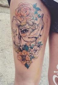 大腿素描风格彩色大象与花纹身图案