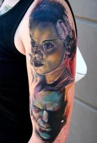 大臂怪物男女肖像纹身图案