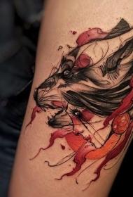 手臂素描风格的彩色部落妇女与狼头纹身