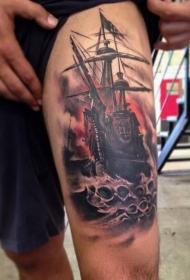 大腿海面的帆船纹身图案