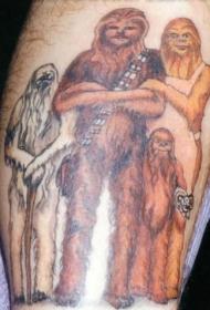 野人家族彩绘纹身图案
