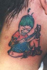 颈部卡通邪恶男孩纹身图案