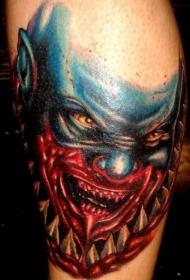 电玩游戏角色彩色血腥怪物脸纹身图案